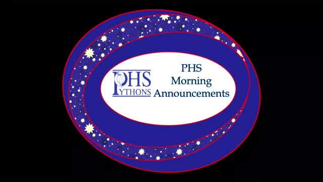 PHS Morning Announcements 10-26-16